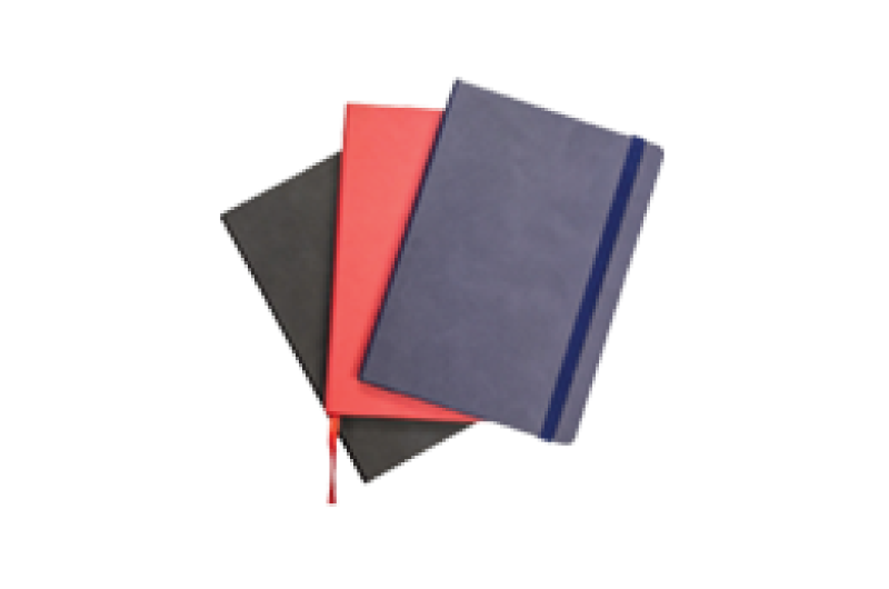 red, blue and black notebooks